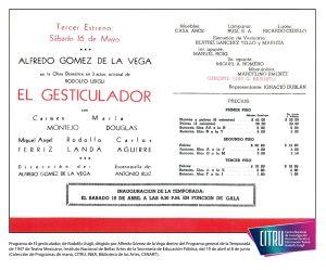 Programa del El gesticulador, de Rodolfo Usigli